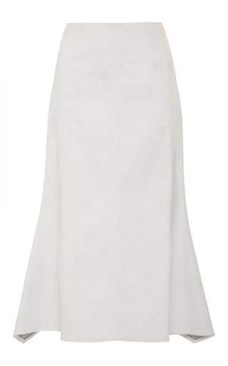 Medium derek lam white denim flared midi skirt