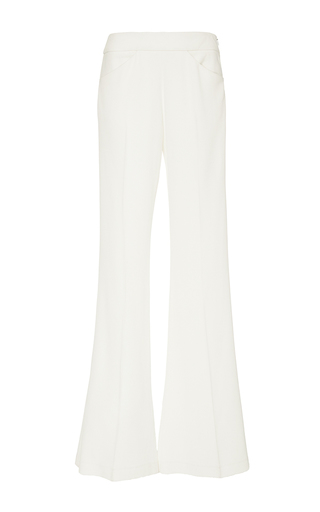Medium derek lam white pebble crepe flared trousers