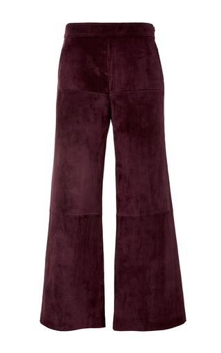 Medium derek lam burgundy leather paneled gaucho pants
