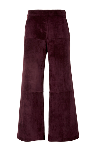 Medium derek lam burgundy leather paneled gaucho pants