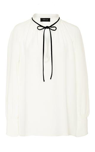 Medium derek lam white tie neck silk blouse