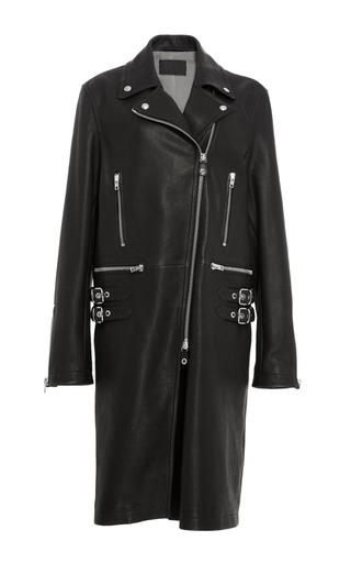 Medium alexander wang black long leather biker coat