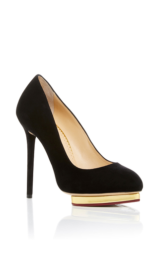 Medium charlotte olympia black dotty suede pumps