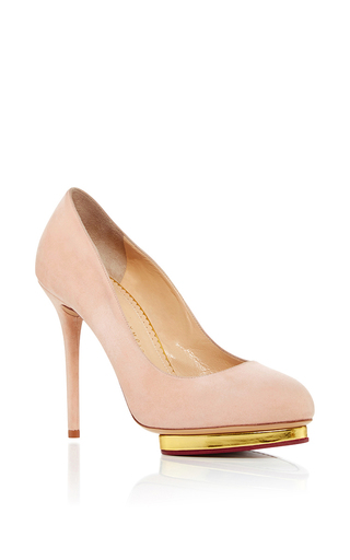 Medium charlotte olympia light pink dotty suede pumps  2