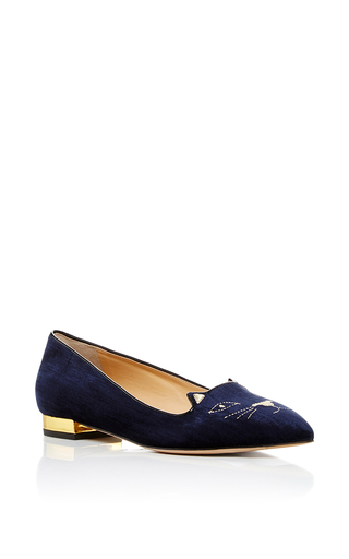 Medium charlotte olympia navy mid century kitty flats