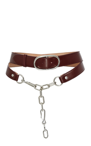 Medium alexander wang red double belt in beet calf leather