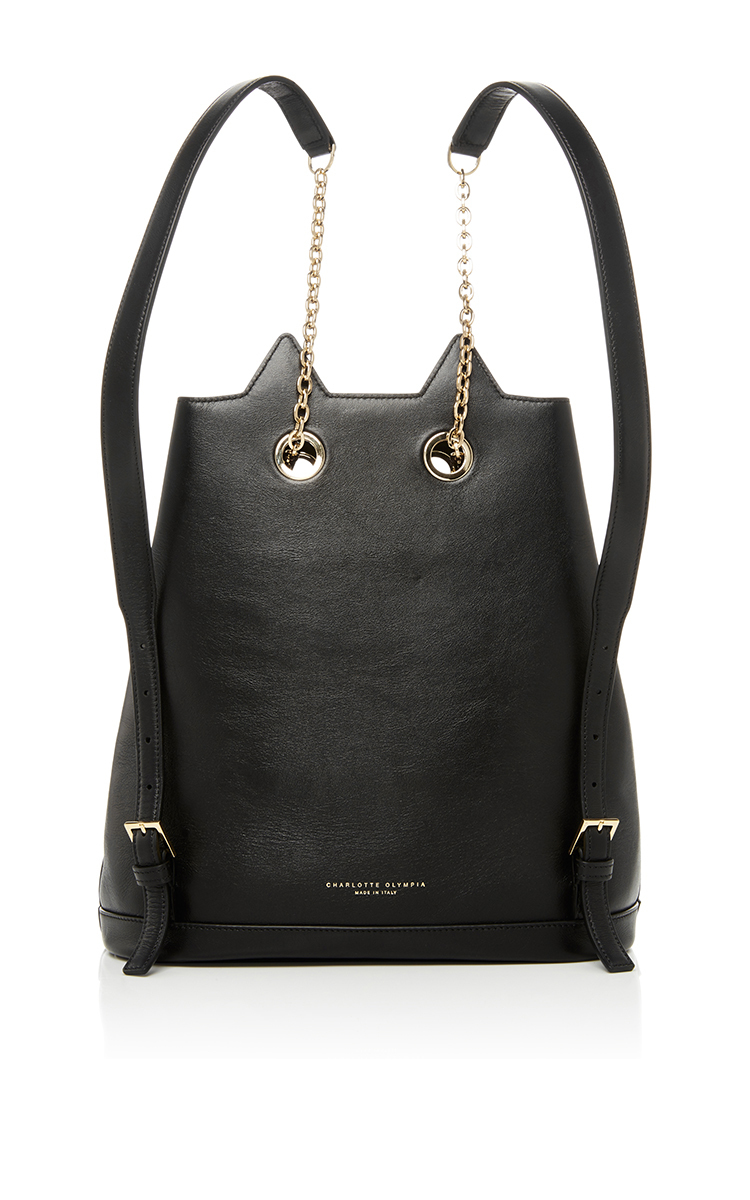 24aa2fa416d1 Feline Leather Backpack by Charlotte Olympia