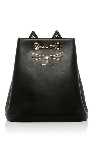 Medium charlotte olympia black feline leather backpack