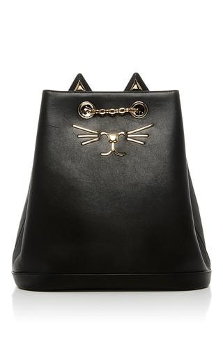 Medium charlotte olympia black feline leather backpack
