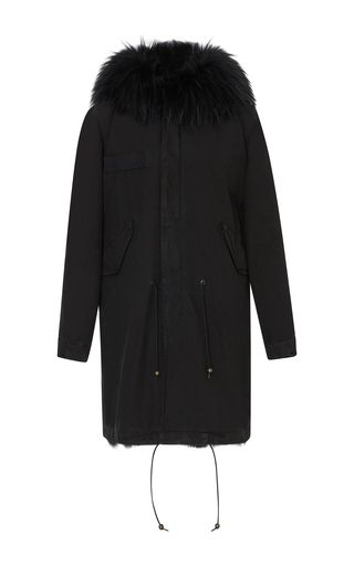 Medium mr mrs italy black long canvas parka with fox fur lining