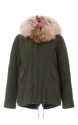 Medium mr mrs italy green checkered mink mini parka