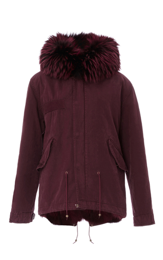 Medium mr mrs italy burgundy coyote lined mini parka