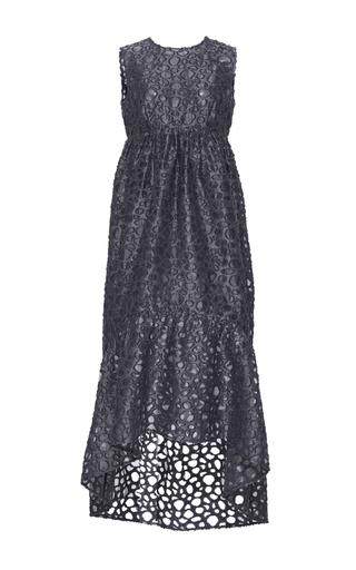 Medium co navy sleeveless peplum jacquard dress