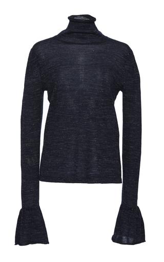 Medium co blue speckled knit flared cuff sweater