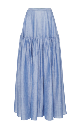 Medium co blue japanese ramie tiered skirt