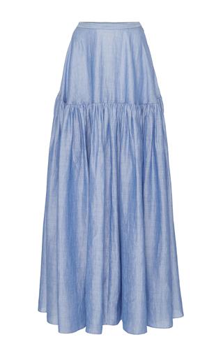 Medium co blue japanese ramie tiered skirt