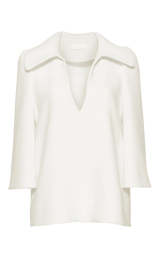 Medium co white structured flared collar shirt