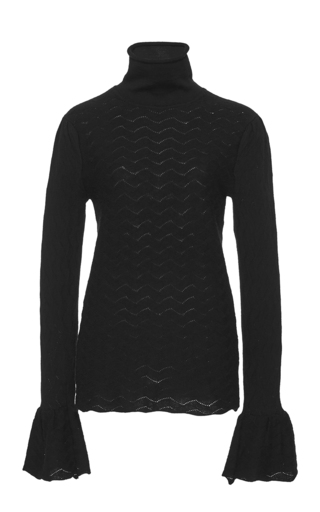 Medium co black textured knit flared cuff sweater