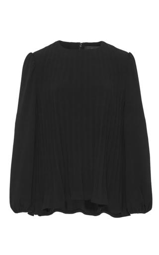 Medium co black japanese crepe pleated blouse