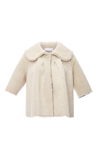 Medium co neutral cropped shearling jacket