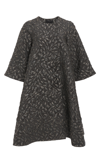 Medium co dark grey flower jacquard flared dress