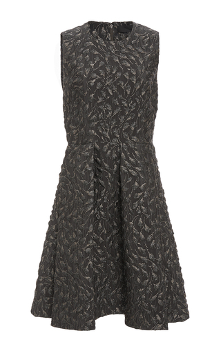 Medium co dark grey flower jacquard sleeveless dress