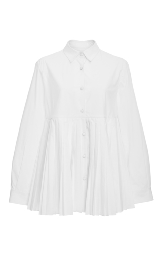 Medium co white pleated peplum shirt