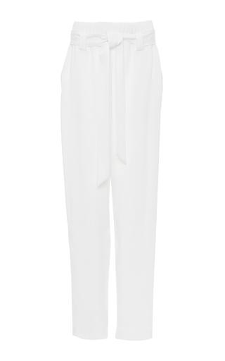 Medium sally lapointe white twill parachute track pant