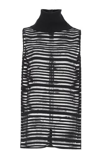 Medium sally lapointe black crochet lace sleeveless turtleneck
