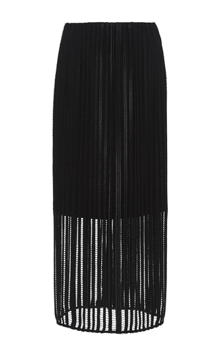 Medium sally lapointe black crochet lace pencil skirt