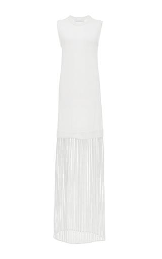 Medium sally lapointe ivory lightweight cashmere and crochet lace sleeveless dress