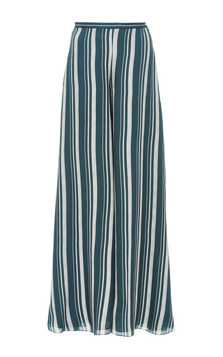 Medium sally lapointe green striped georgette wide leg trouser