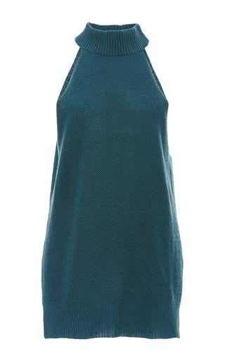 Medium sally lapointe green grey cashmere wool halter tank