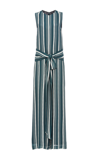 Medium sally lapointe green striped georgette jumpsuit