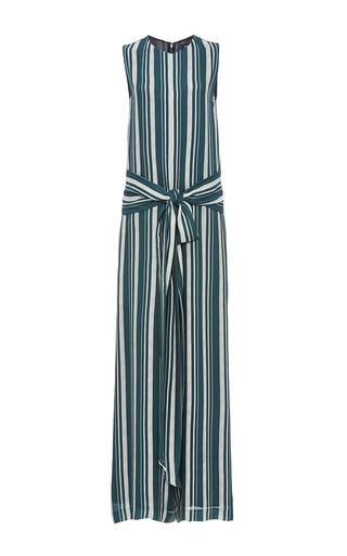 Medium sally lapointe green striped georgette jumpsuit