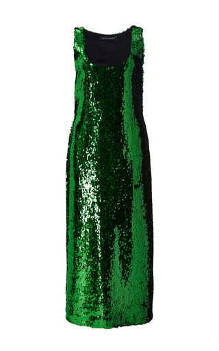 Medium sally lapointe green sequin sleeveless dress