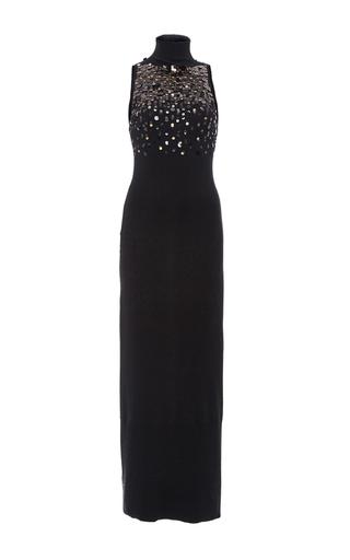 Medium sally lapointe black embellished lightweight cashmere dress