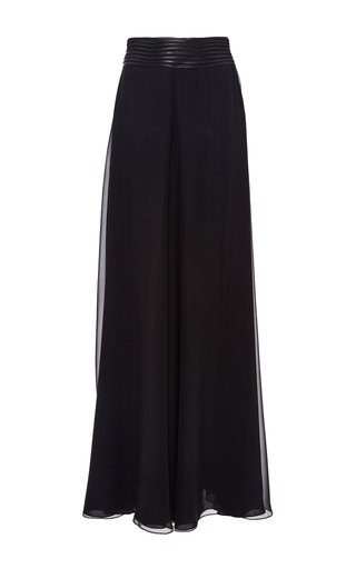 Medium sally lapointe black chiffon wide leg trouser with leather macrame