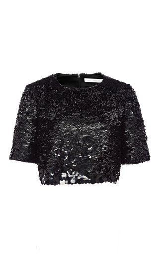 Medium sally lapointe black hand embroidered sequin cropped tee