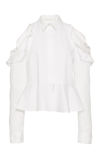 Medium jonathan simkhai white cutout shoulder ruffle shirt