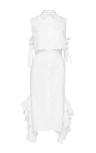 Medium jonathan simkhai white side tie ruffle skirt dress