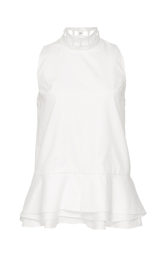 Medium jonathan simkhai white trim neck peplum top