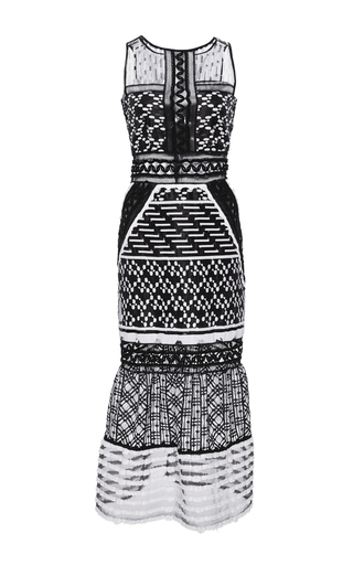 Medium jonathan simkhai black white embroidered organza gown