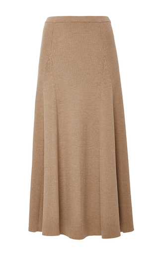 Medium rosetta getty tan merino wool ribbed flared skirt