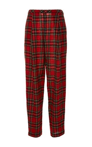 Medium rosetta getty red japanese tartan pleat front trouser