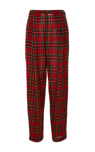 Medium rosetta getty red japanese tartan pleat front trouser