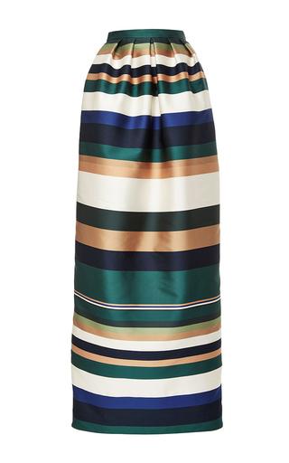 Medium rosetta getty stripe coloblocked satin pleated column skirt