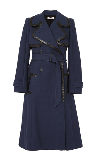 Medium rebecca taylor navy leather trim trench coat