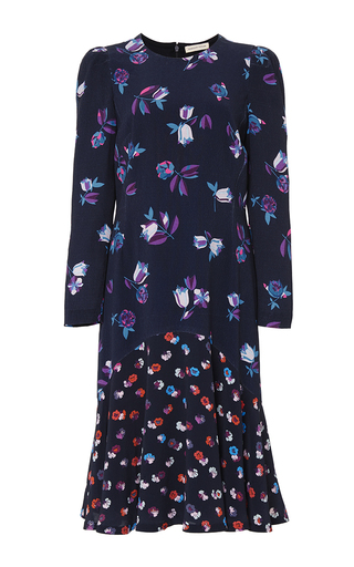 Medium rebecca taylor navy long sleeve print mix dress
