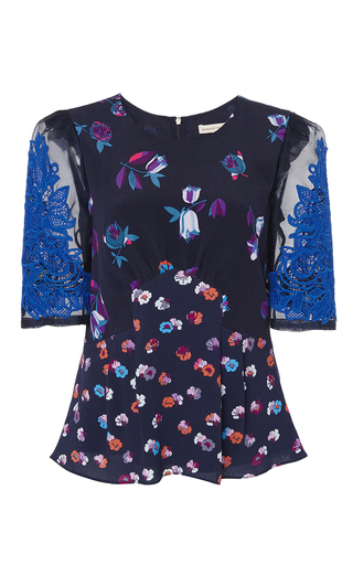Medium rebecca taylor navy short sleeve print top with lace